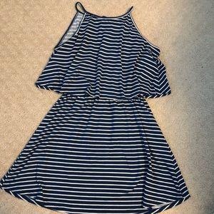 Navy blue and white stripe float mini dress